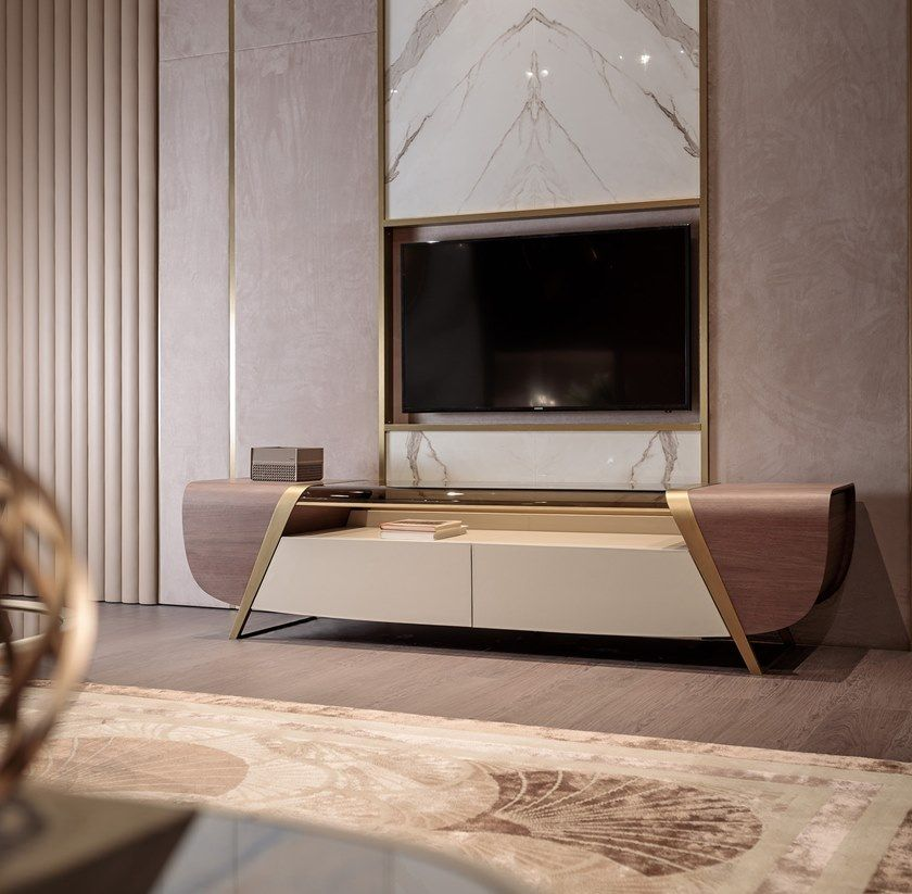 Wood And Glass Tv Cabinet With Drawers Melting Light Tv Cabinet