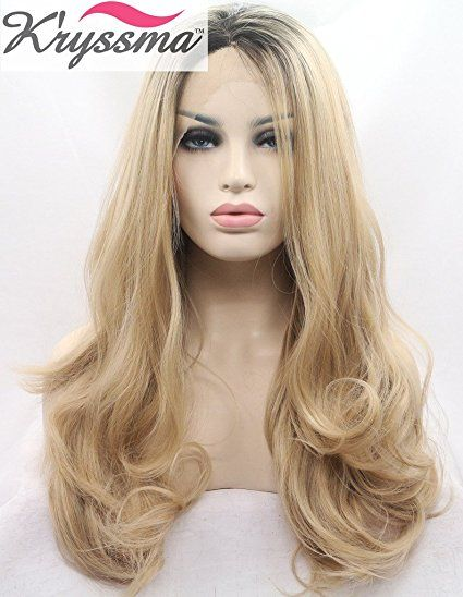 K ryssma Natural Looking Ombre Blonde Lace Front Wigs for Women Long Wavy  Realistic Synthetic Hair Dark Roots Best Wigs UK Half hand Tied Heat  Resistsnt ... 6dcc940312