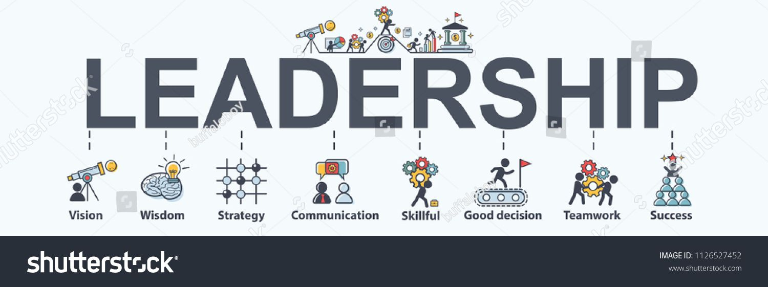 Leadership Banner Web Icon For Business Vision Wisdom Skillful Decision Teamwork And Success Minimal Vector Infogra Leadership Vision Leadership Teamwork