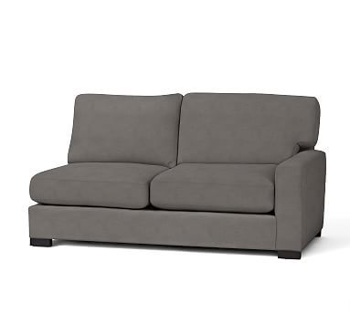Turner Square Arm Upholstered Right-arm Loveseat without Nailheads, Down Blend Wrapped Cushions, Sunbrella(R) Performance Canvas Flax