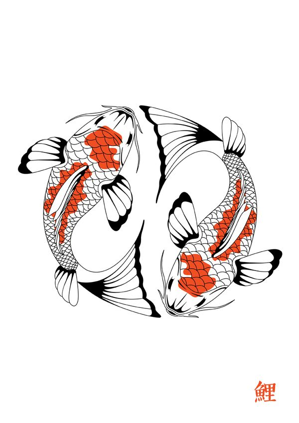 Koi Carp 2 By Emma Barratt Via Behance Carpe Koi Dessin Dessin Poisson Tatouage Carpe Koi