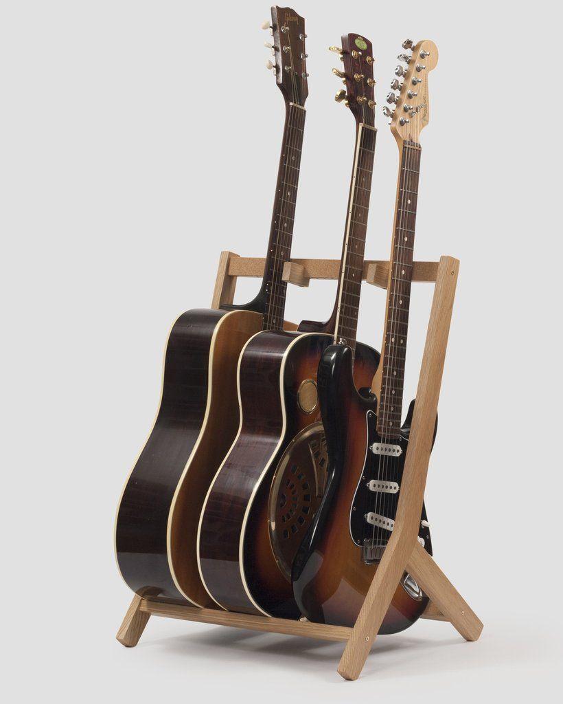 Storage Rack · Wooden Multi Guitar Stand, Oak