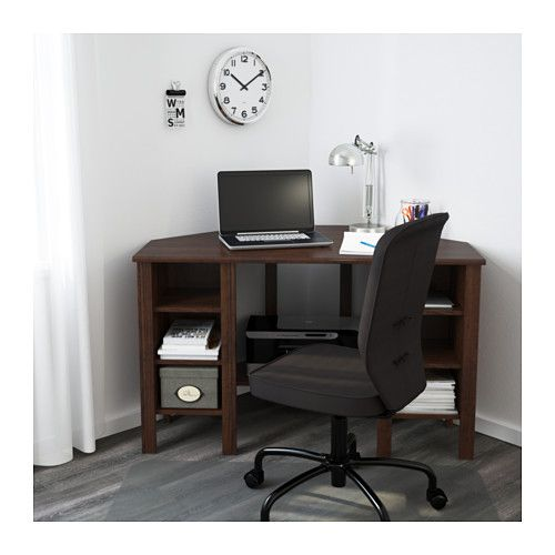 ikea brusali corner desk brown cm you can customise your storage as needed since the shelves are adjustable