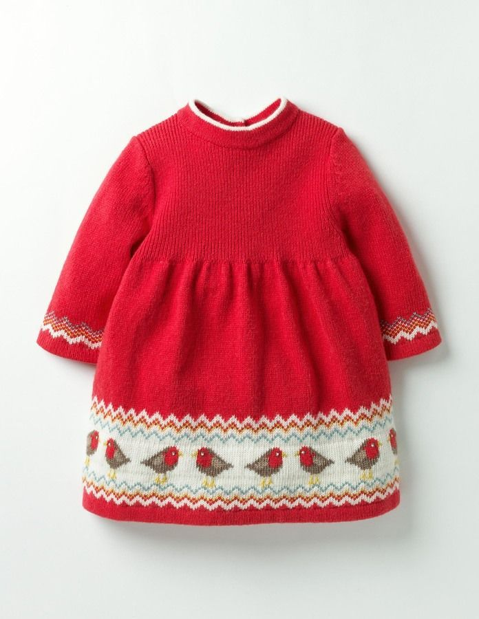 Lovely robin detail on this kids red dress. Knitted Fair Isle ...