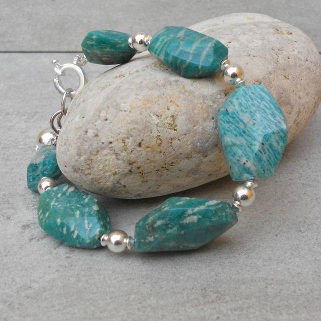 Russian Amazonite & Sterling Silver Bracelet (68) £34.00