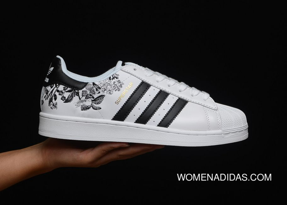 Adidas Originals Superstar Flower Embroidery CG6407 Unisex Skateboard Shoes  White Core Black Gold Metallic 10b07f3f9d