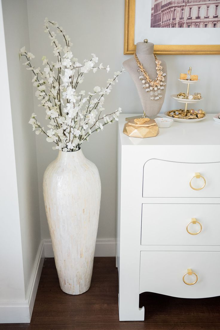 Blogger Jessica Sturdy Of Bowsandsequins Shares Her Chicago Parisian Chic Bedroom Design Glass Pearl Floor Vase Decor Home Decor Vases Chic Bedroom Design