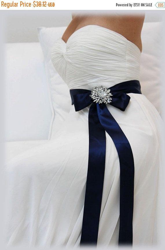 Navy Blue Sash Bridal Sash Bridesmaid Sash Bridal By Glamduchess Wedding Dress Blue Sash Blue Bridal Bridal Sash