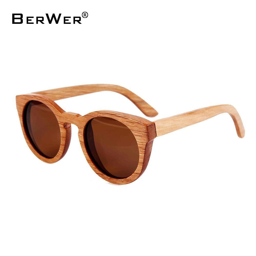 721d997ca8164 BerWer Bamboo Wooden Sunglasses Round Frame