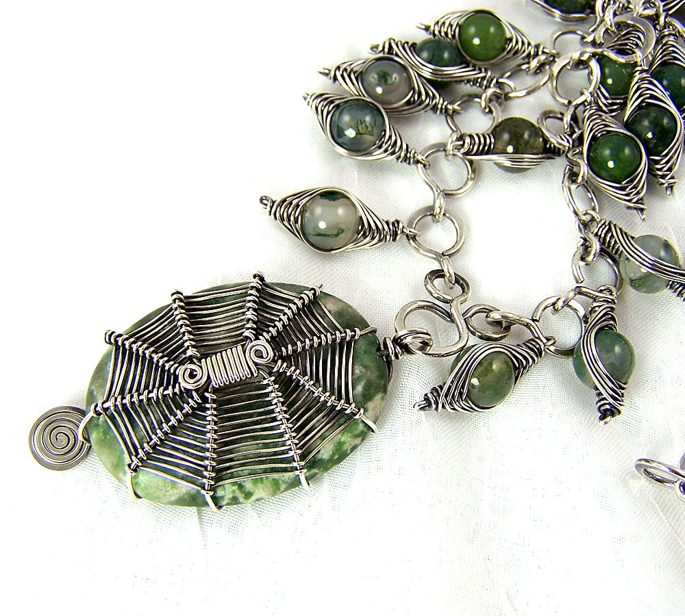 Tree Agate Spider Weave Necklace Pic 2 - Art Jewelry Magazine ...