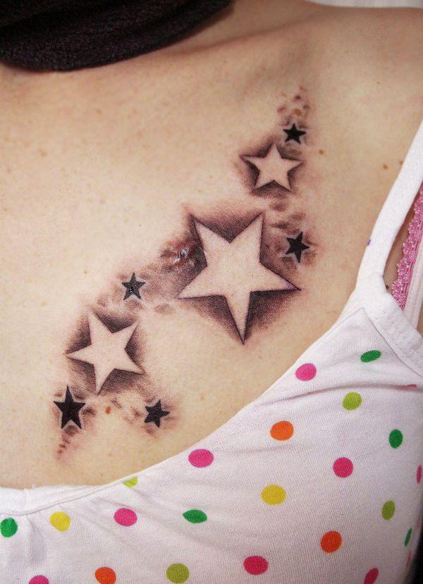 Star Tattoos For Women : tattoos, women, Tattoo, Women, Chest, Design