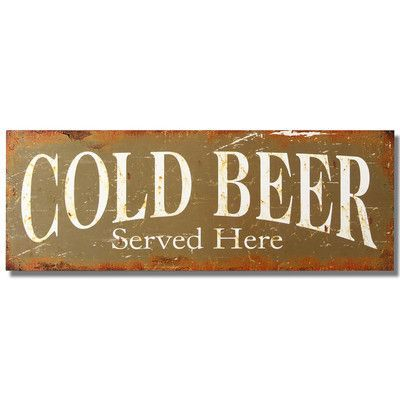 """AdecoTrading """"Cold Beer Served Here"""" Wall Décor"""