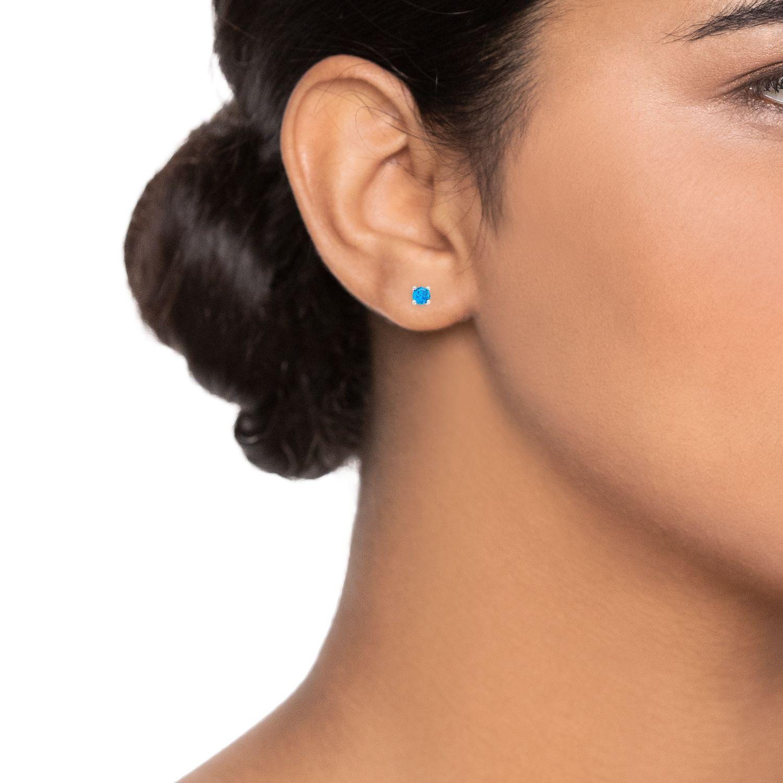 14k White Gold 1 4 Carat T W Blue Diamond Stud Earrings Affiliate Gold Ad Carat White Stud Stud Earrings Ear Climbers Earrings Heart Earrings Studs