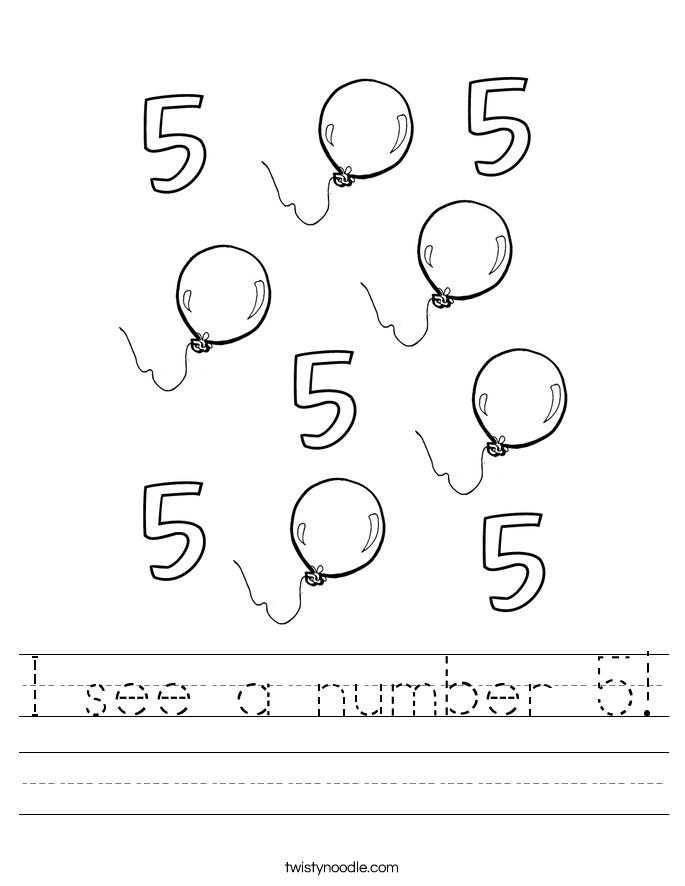I See A Number 5 Worksheet Twisty Noodle Numbers Preschool Worksheets Transportation Worksheet
