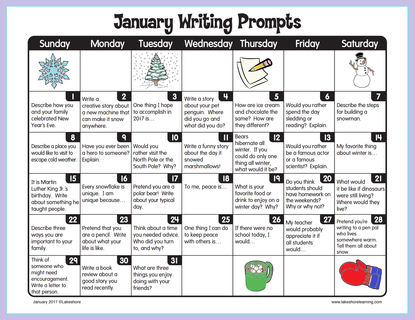 January Writing Prompts From Lakeshore Learning