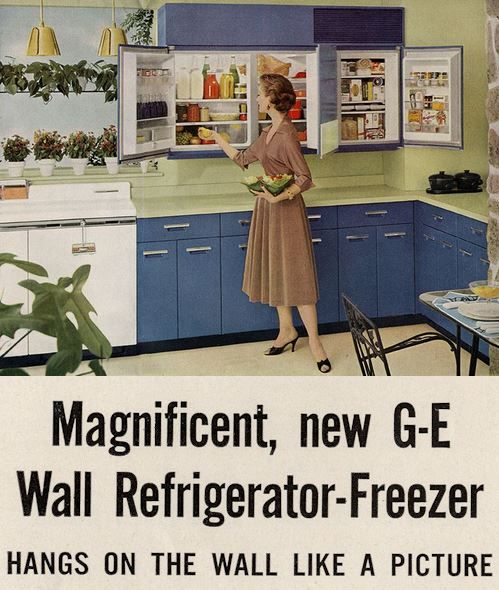 Ge Wall Refrigerator Freezer A 1955 Innovation 5 Design Photos Vintage Refrigerator Vintage Kitchen Appliances Retro Renovation