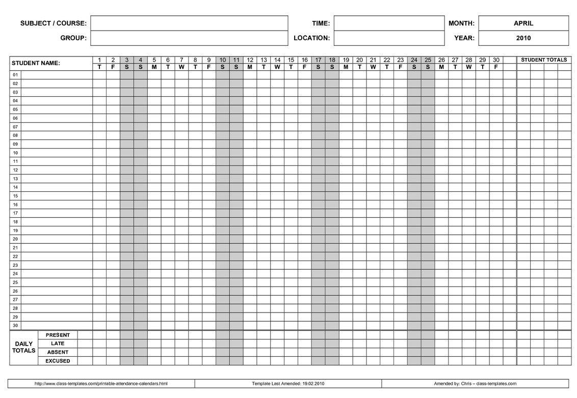 Printable  Employee Attendance Calendar   Calendar