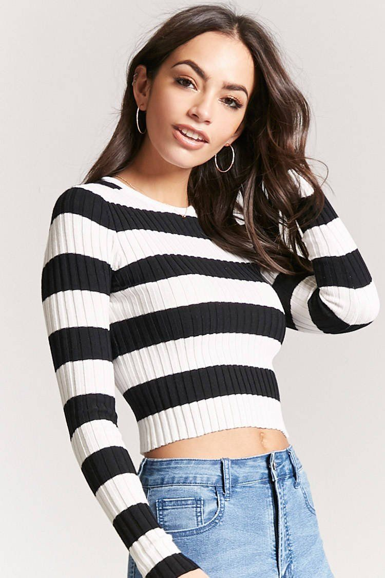 56502302a7 Product Name Stripe Ribbed Sweater-Knit Crop Top