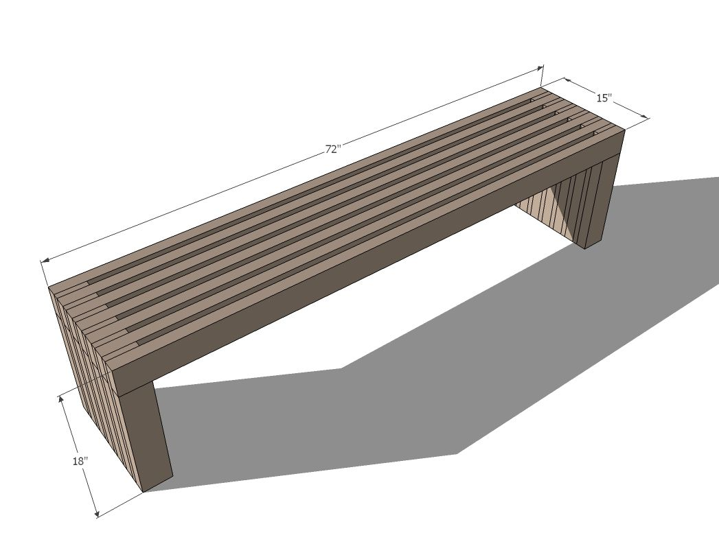 Ana White Build A Modern Slat Top Outdoor Wood Bench Free And Easy Diy Project And Furniture