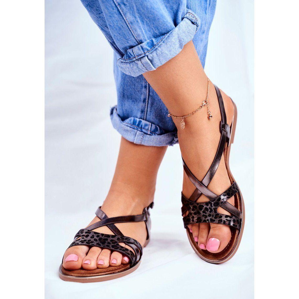 S Barski Sandaly Damskie Plaskie Pewter Barski Lomba Czarne Szare Sandals Shoes Birkenstock