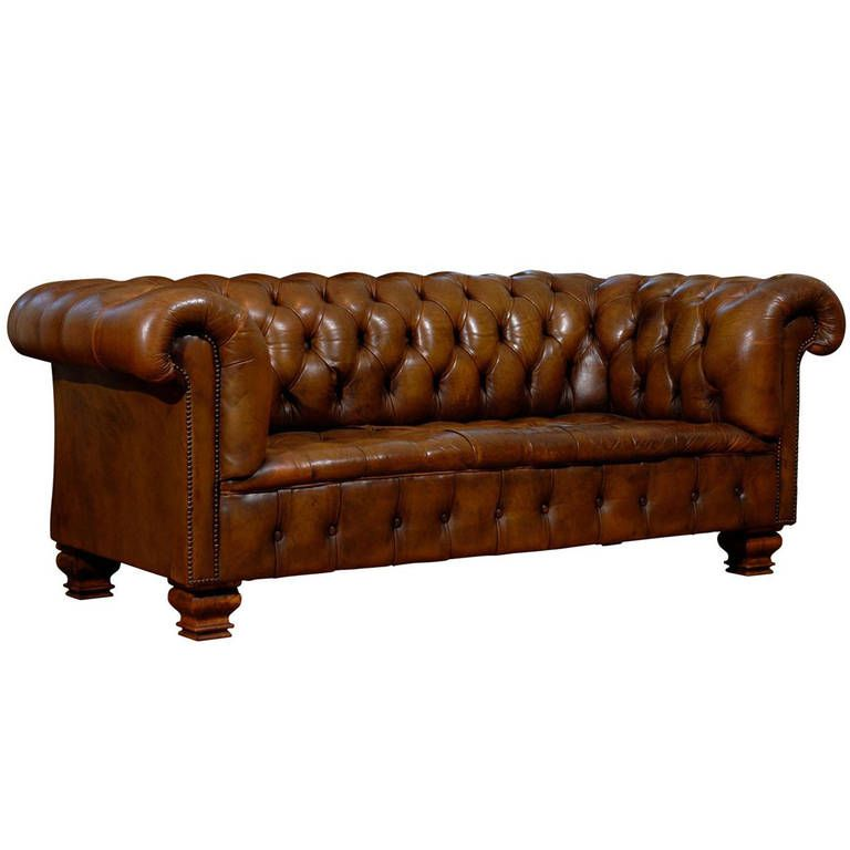 French Old Leather Tufted Chesterfield Sofa with Nailhead ...