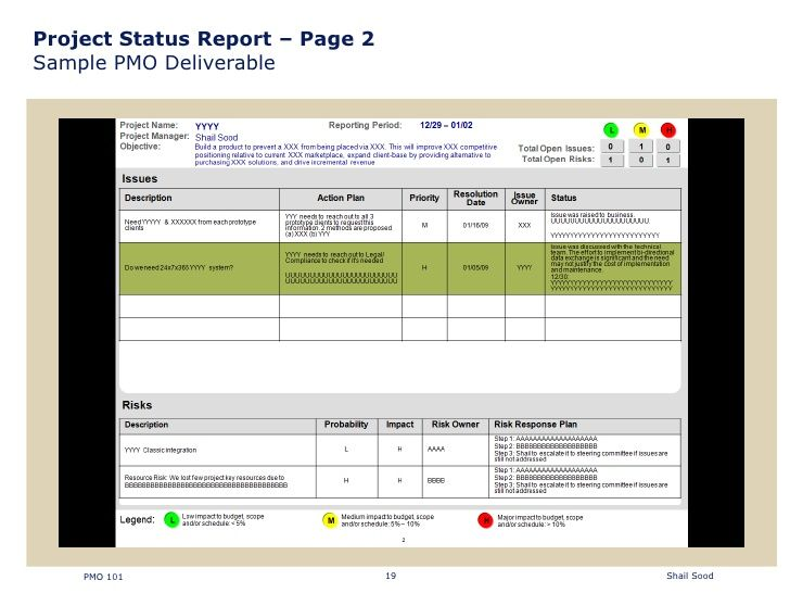 Project Status Report  Page  Sample Pmo Deliverable Pmo