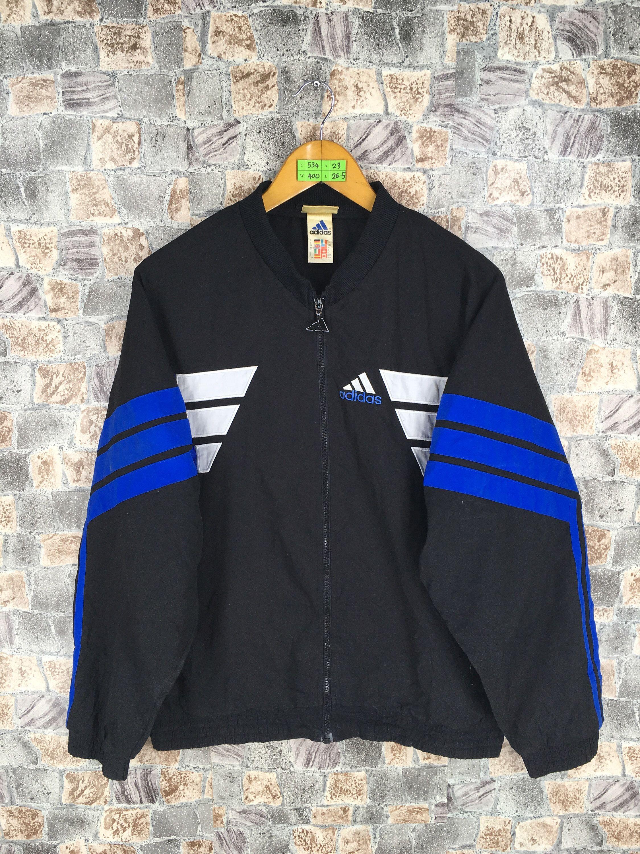 Vintage Adidas Windbreaker Jacket Medium Adidas Three Stripes Sportswear Black Zipper Jacket Windrunner Size M