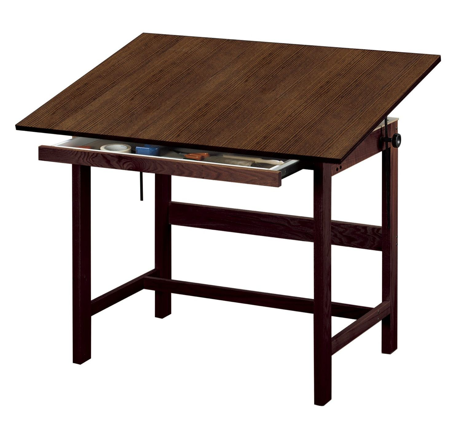 Wood drafting table plans - Save On Discount Alvin Titan Drafting Table With Drawer Walnut Woodgrain Melamine Top More