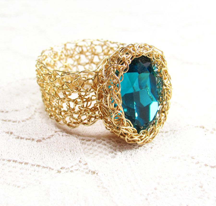Crochet Wire Goldfilled Ring with Turquoise Oval by SigalsDesigns. $42.00, via Etsy.