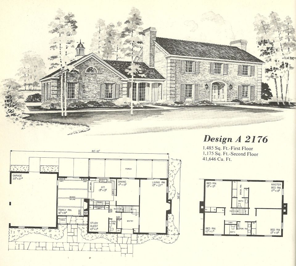 Vintage House Plans Georgian 2176 Vintage House Plans Vintage House House Plans