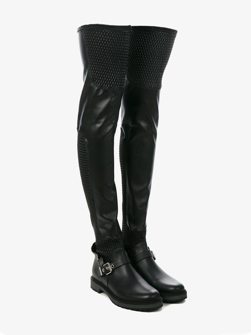 8a5b640932b Fendi smocked thigh high boots. FENDI SMOCKED LEATHER OVER-THE-KNEE BIKER  ...