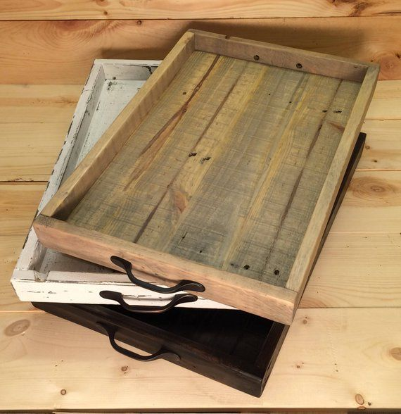 Rustic Serving Tray Ottoman Trayserving Tray With Handles Etsy Rustic Serving Trays Serving Tray Wood Wooden Tray