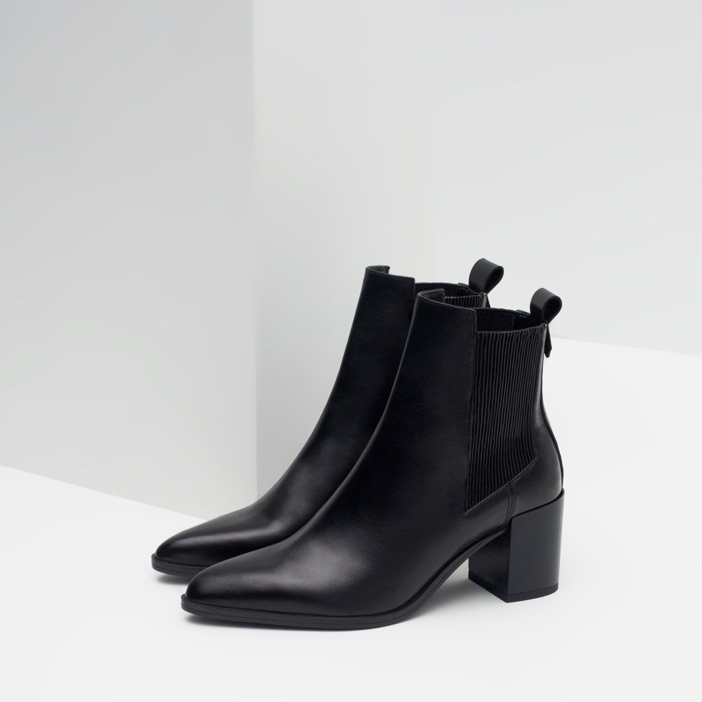 HIGH HEEL LEATHER ANKLE BOOTS WITH STRETCH DETAIL-View all-Shoes-WOMAN | ZARA United States