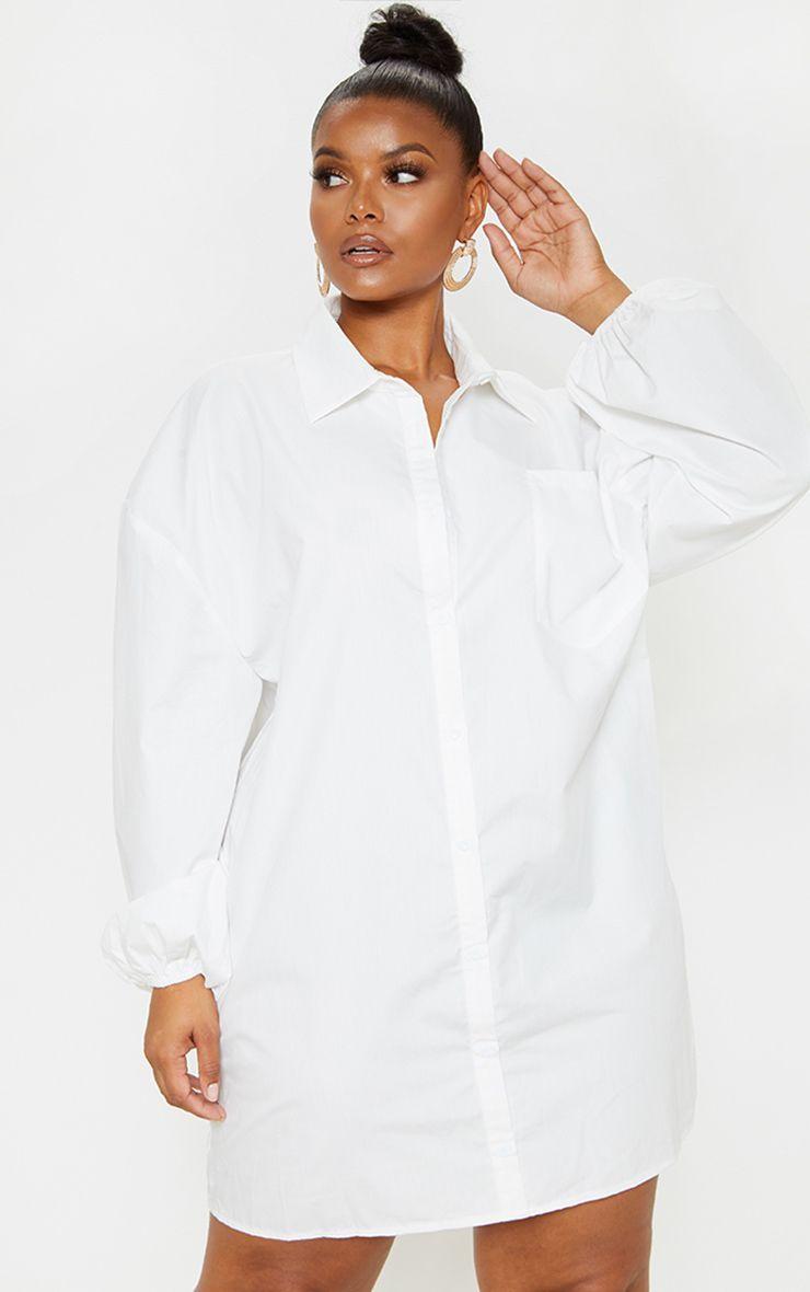 Plus White Oversized Puff Sleeve Shirt Dress | Dress shirt sleeves ...