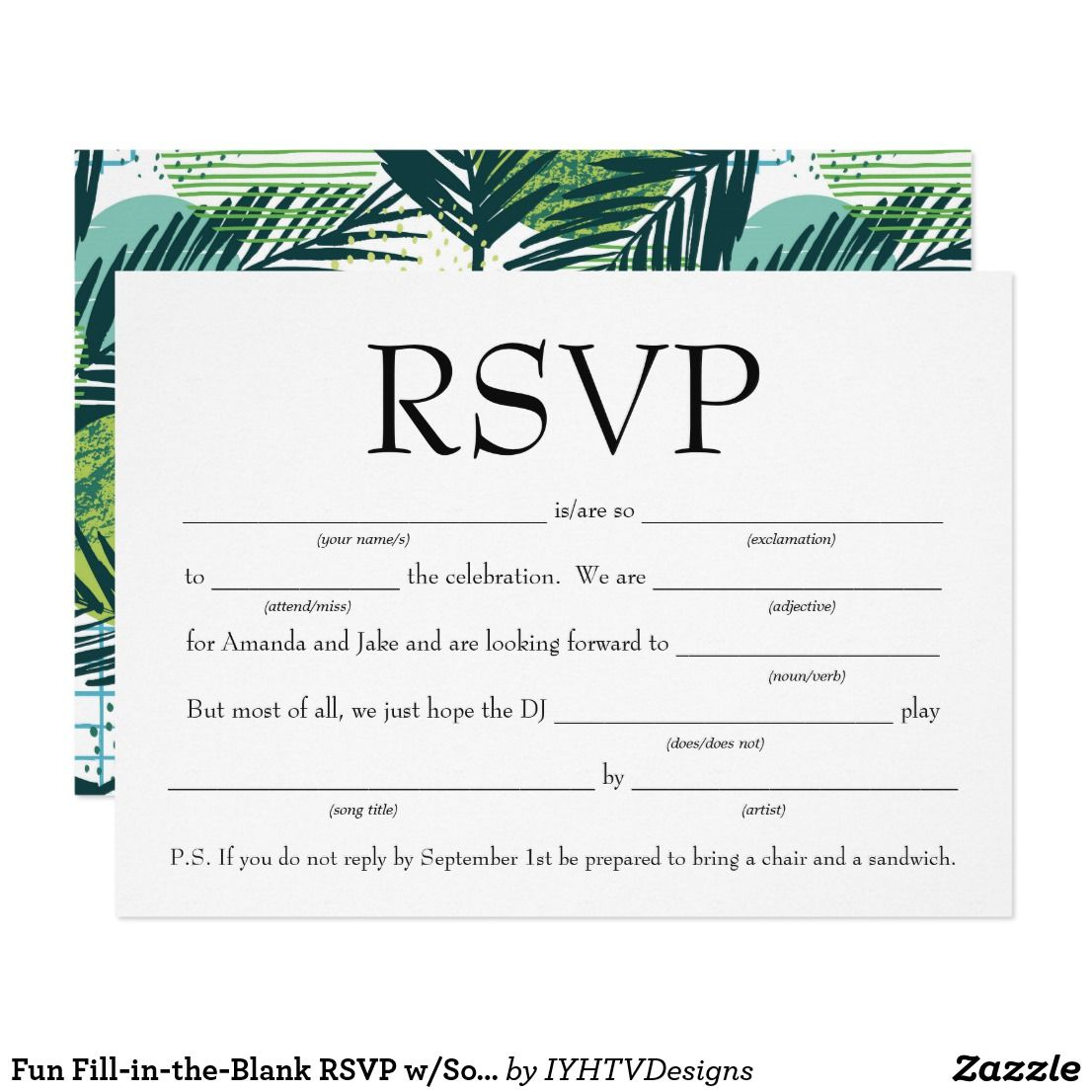 Fun FillintheBlank RSVP w/Song Request Invitation