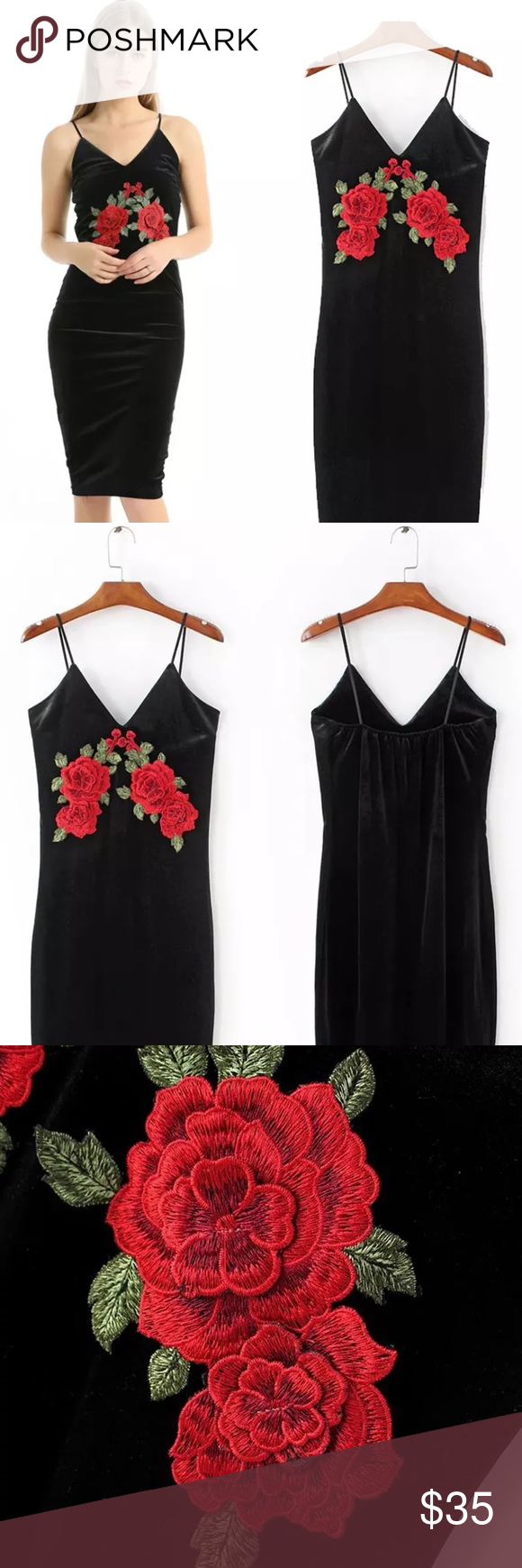 Black dress with roses rose detail and customer support