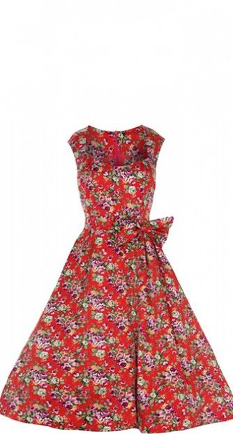 e1587f2fe97d Lindy Bop Grace Floral Swing Party Dress in Red
