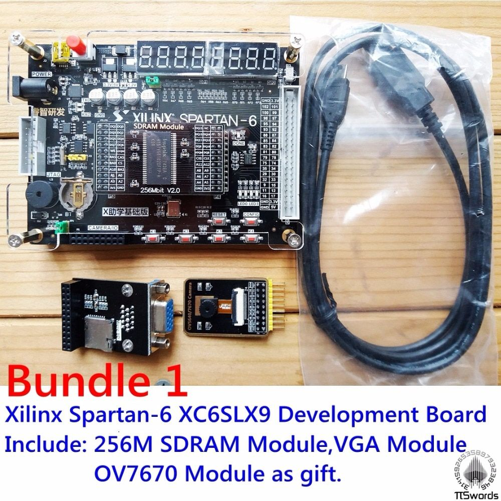 Xilinx 256Mbit SDRAM VGA Module Spartan6 XC6SLX9 FPGA Development Board Kit