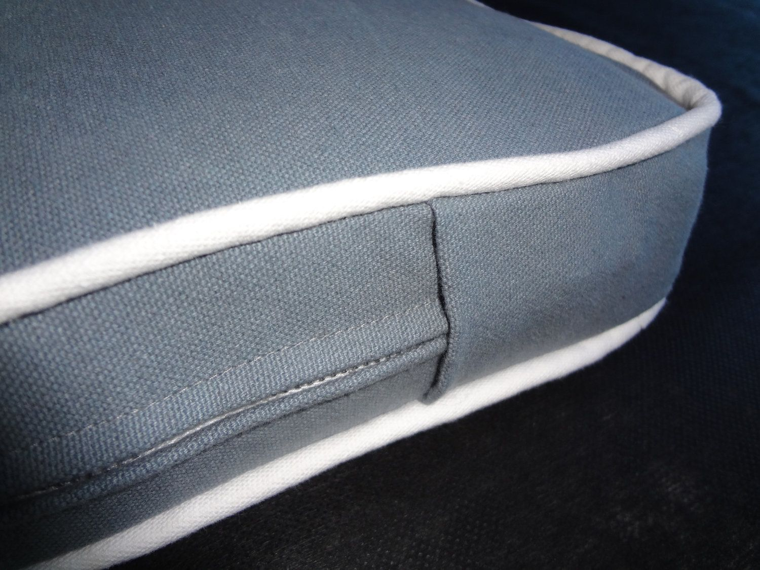Bench Seat Cushion,Grey,Gray,White piping, MADE TO ORDER