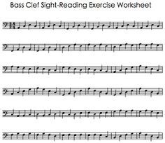 Bass Clef Sight Reading Exercise Worksheet Cello Music Piano