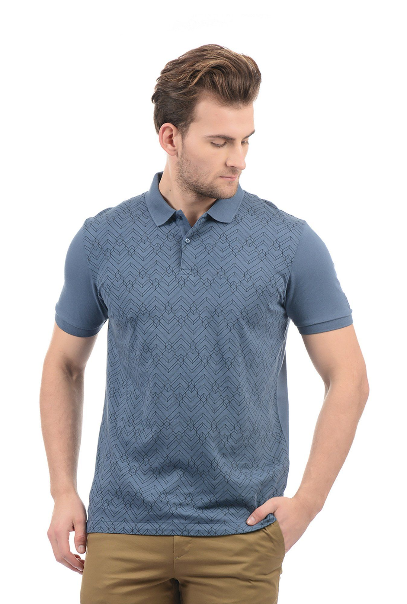 c6033f3e Arrow New York Steel Blue Regular Fit Polo T-shirt - | 749.00 ...