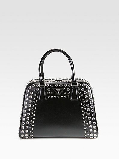 af3dd6bfbdb0 Saffiano Vernice Embellished Frame Pyramid Top Handle Bag by Prada ...