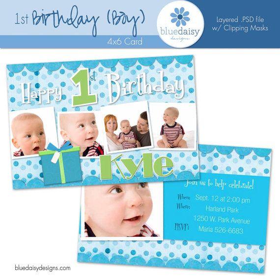 1 Year Old BOY BIRTHDAY Invitation Custom By Bluedaisydigital 500