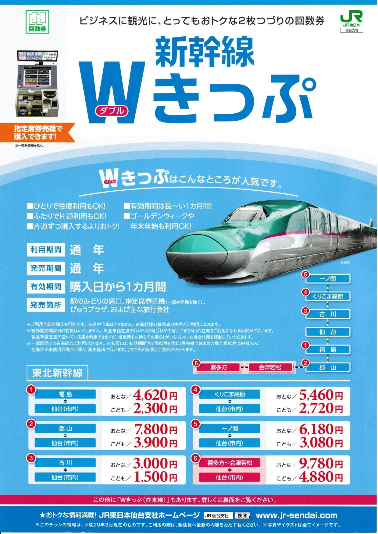 新幹線wきっぷ 2017年 Jr東日本仙台支社 チラシ 東日本 仙台