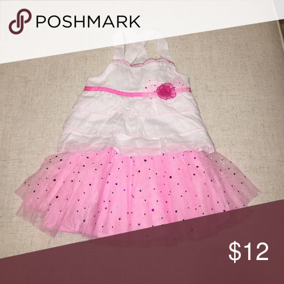 Girls pink and white set Pink tutu (skort underneath) with glittery sparkles and white eyelet top with pink rose Little Lass Matching Sets