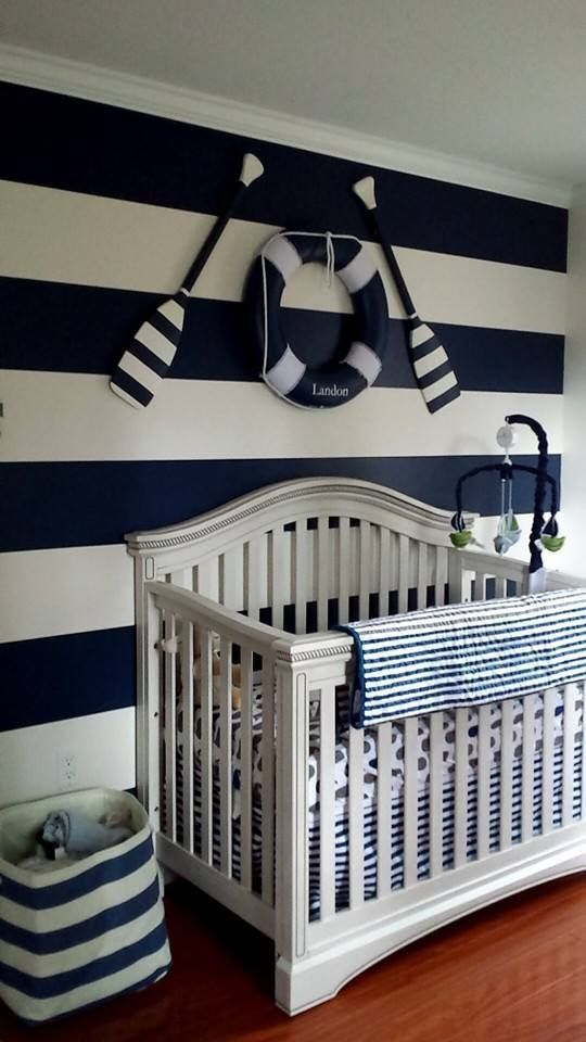 Blue And White Striped Accent Wall In A Nautical Nursery   So Preppy!