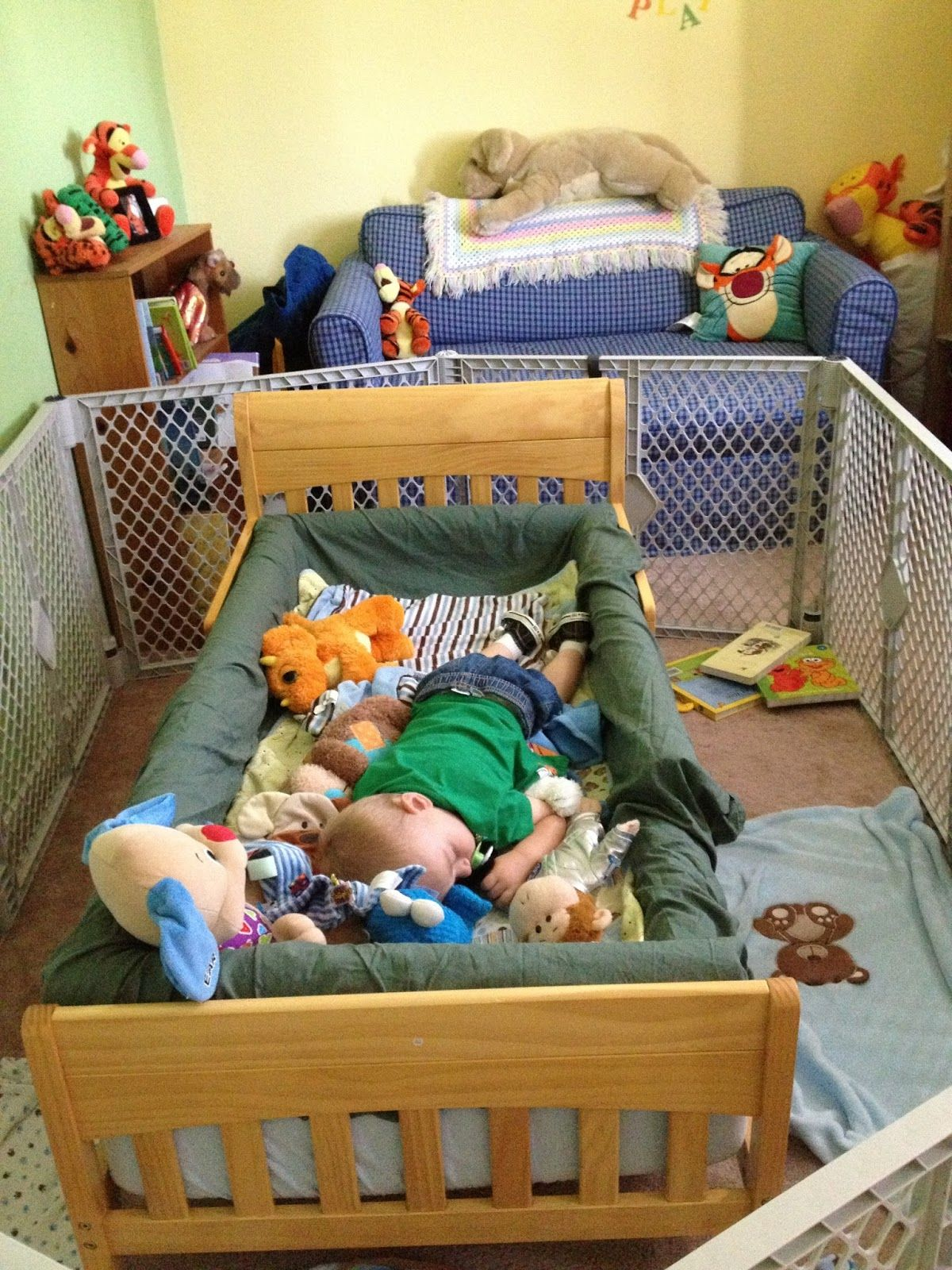 Pool Noodle Bed Rail And I Never Once Thought Of Using A Baby Gate To Keep The Child From Running In An Out Room Genius