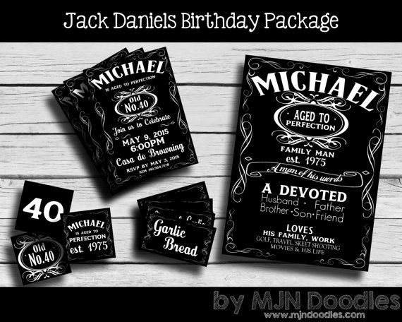 Jack Daniels Party Package Invitation Cupcake Toppers Food Tags Black And White 40th Birthday Decoration 50th 60th 70th 80th