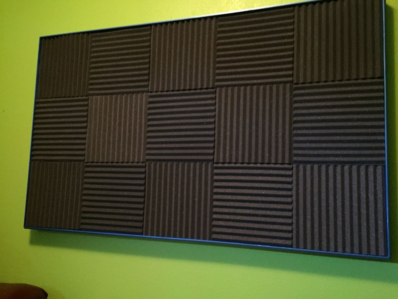 3 Thick Charcoal Wedge Foam 12x12 Metallic Blue Wood Frame Super Sound Absorbent I Used 1 8 Foam Board Adds More Sound Panel Acoustic Panels Blue Wood