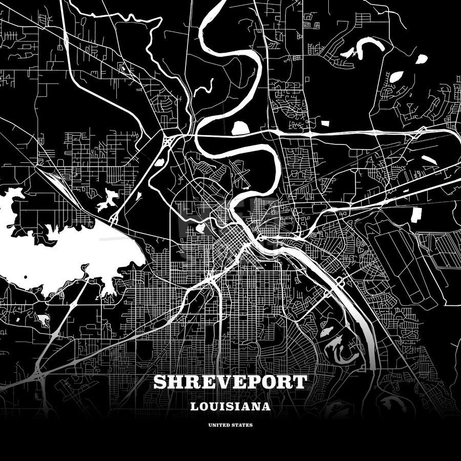 Black map poster template of shreveport louisiana usa